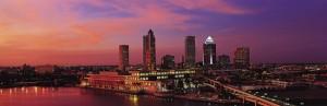 Aerial night shot of Tampa