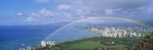 City under a rainbow