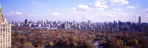 Aerila shot of Central Park in fall