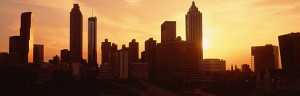 Atlanta skyline at sunset