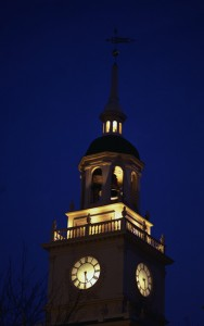 Independence Hall Tower Lit Up at Night