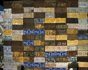 Rusty old licence plates