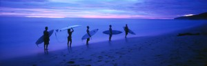 Surfers after sunset