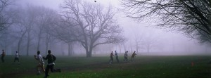 Playing Football on a foggy day