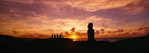 Statues at dusk, Easter Island