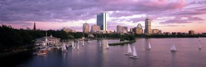 Boats at dusk in Boston