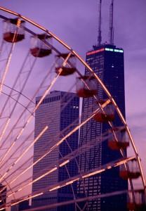 Chicago Ferris Wheel and John Hancock Building photo