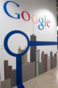 Google's Logo and Chicago's Blue Line over the Skyline