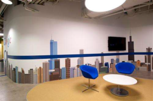 Large view of the fabricated Chicago skyline in Google's Chicago-based office.
