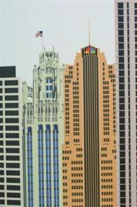 Fabricated skyline of NBC Tower