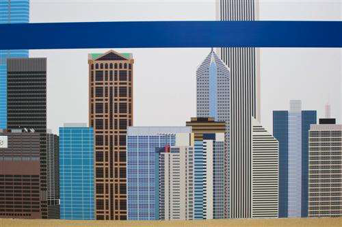 Chicago's skyline with CTA Blue Line