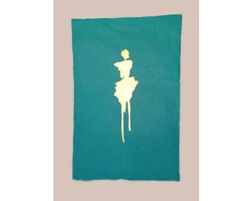 Portia handmade rag paper with 24k gold figure 30 in. x 24 in.