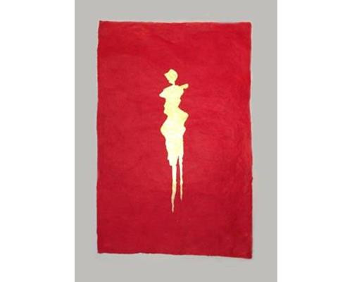 Colombine-handmade-rag-paper-with-24k-gold-leafe-figure-30-in.-x-24-in.